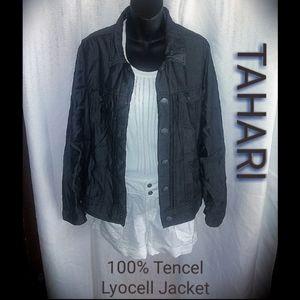 TAHARI BLACK TENCEL DENIM JACKET